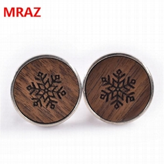 Hot sell Fashion cheap handmade wooden metal cufflinks for men