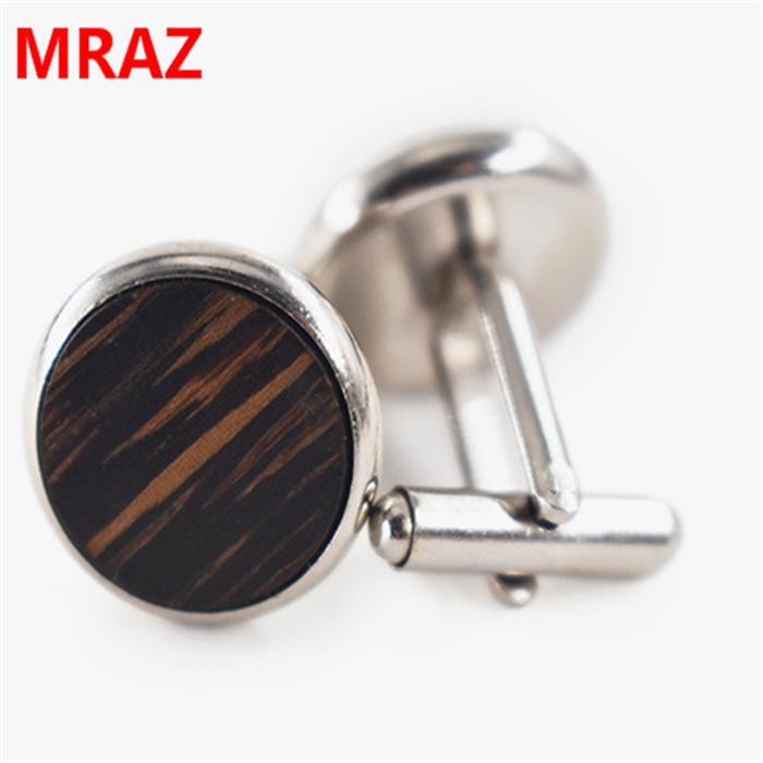 Fashion cheap handmade wooden metal cufflinks for men