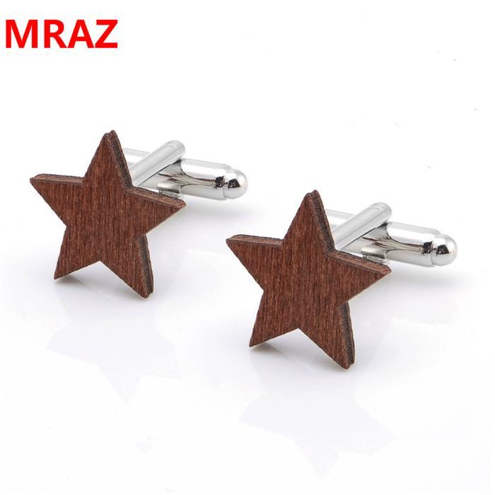 Fashion cheap handmade wooden metal cufflinks for men 1