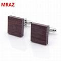 Fashion cheap handmade wooden metal cufflinks for men 2