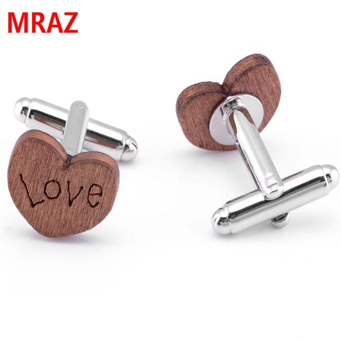 Fashion cheap handmade wooden metal cufflinks for men 4