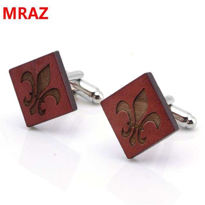 Fashion cheap handmade wooden metal cufflinks for men 5