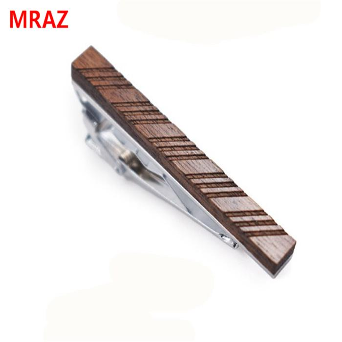 Fashion cheap handmade wooden metal tie clips for men 4