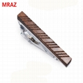 Fashion cheap handmade wooden metal tie clips for men