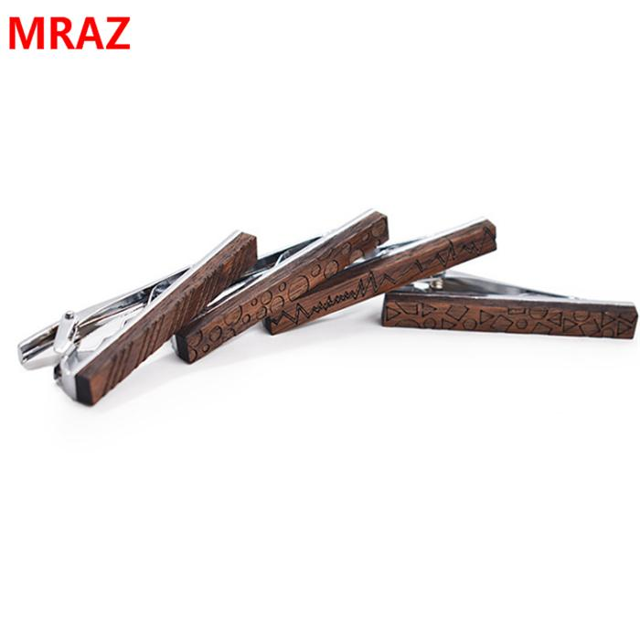Fashion cheap handmade wooden metal tie clips for men 5