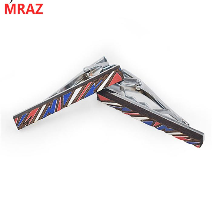 Fashion colorful handmade wooden metal tie clips for men 2
