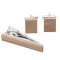 Fashion handmade wooden metal tie clips cufflinks set for men 2