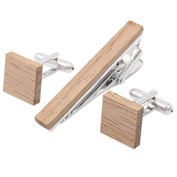 Fashion handmade wooden metal tie clips cufflinks set for men 5