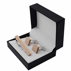 Fashion handmade wooden metal tie clips cufflinks set for men