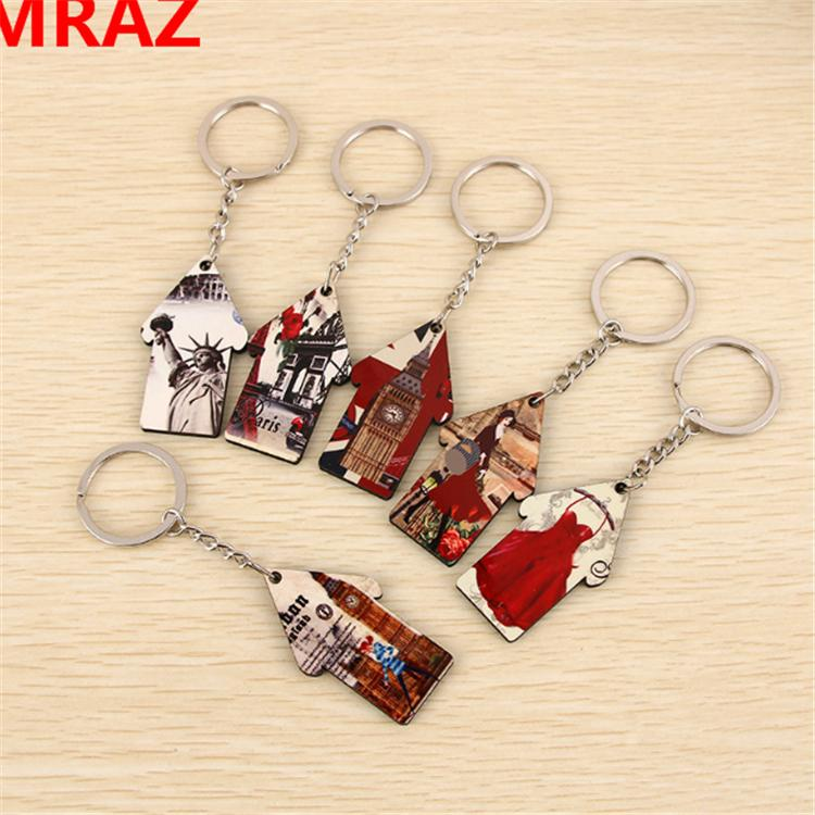 New Designs Promotional Items wooden metal keychain 2