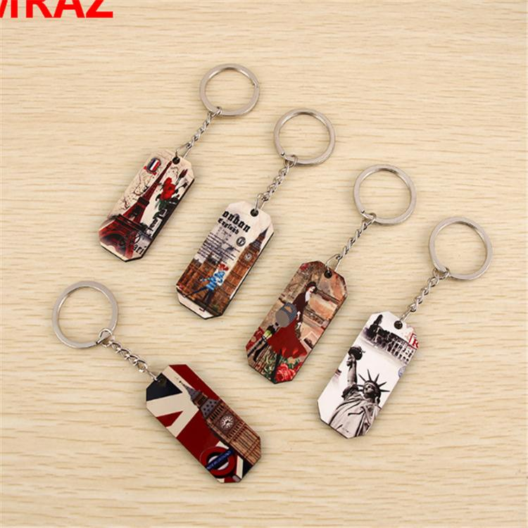 New Designs Promotional Items wooden metal keychain 5