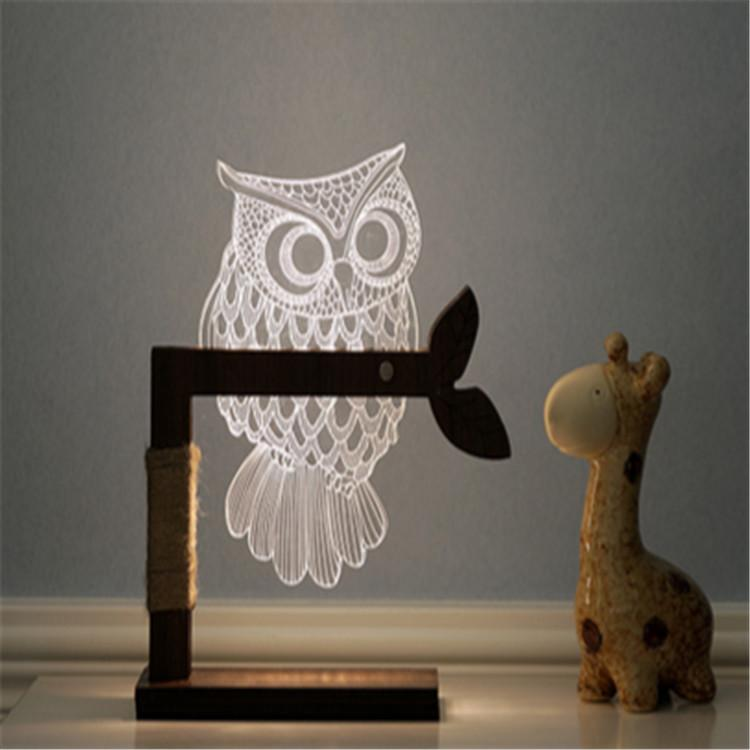 Promotional Creative home decor light owl 3d led acrylic table lamp for baby