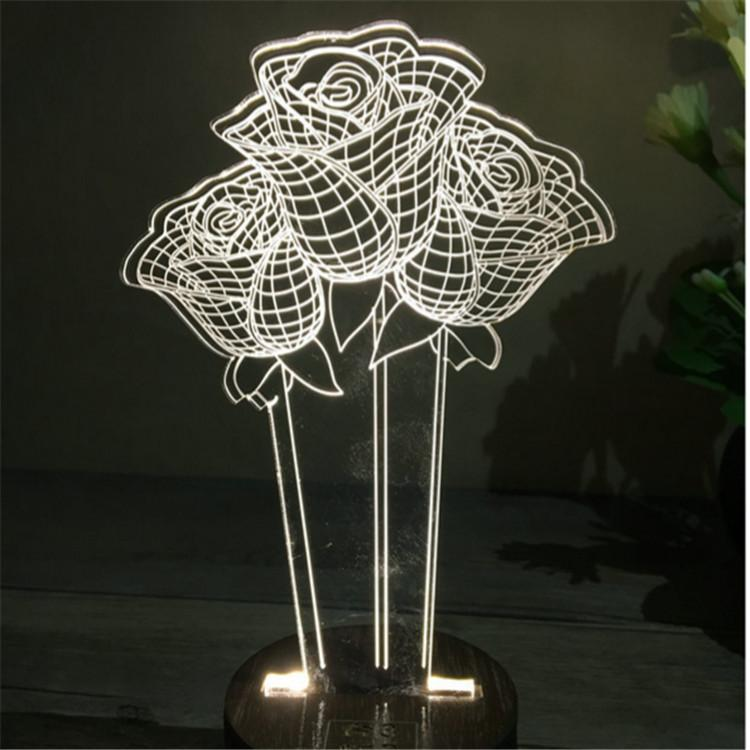Creative Valentine's Day Gifts Wooden 3D led desk lamp Night Light 1