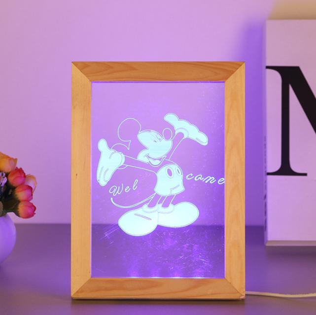 Valentine's Day Gifts Wooden 3D led Photo Frame desk lamp Night Light 6