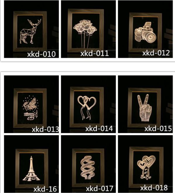 Valentine's Day Gifts Wooden 3D led Photo Frame desk lamp Night Light 8