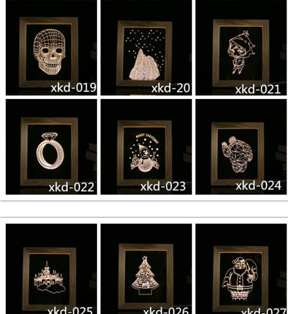 Valentine's Day Gifts Wooden 3D led Photo Frame desk lamp Night Light 9