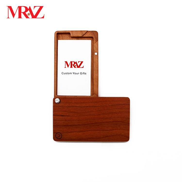 Wooden business name card case holder