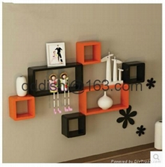 Rectangle tv wall shelf she  es bookcase home decor hanging wooden plaque
