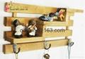 3 hooks Family Wall Hanger Cloth Hats Bag Key wood Hook wooden ladder shelf home 1