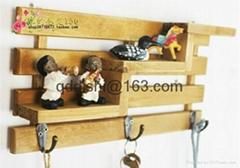 3 hooks Family Wall Hanger Cloth Hats Bag Key wood Hook wooden ladder shelf home