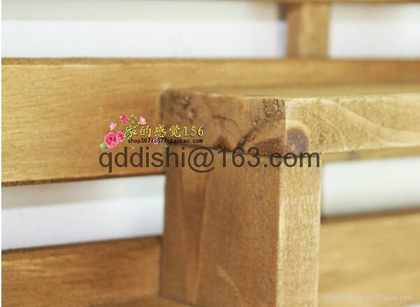 3 hooks Family Wall Hanger Cloth Hats Bag Key wood Hook wooden ladder shelf home 2