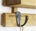 3 hooks Family Wall Hanger Cloth Hats Bag Key wood Hook wooden ladder shelf home 3