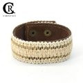 CR1001 Bohemian Style Light Color Mesh Accessory Sewing Genuine Leather Bracelet 1