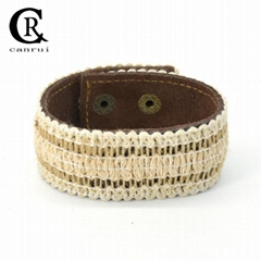 CR1001 Bohemian Style Light Color Mesh Accessory Sewing Genuine Leather Bracelet