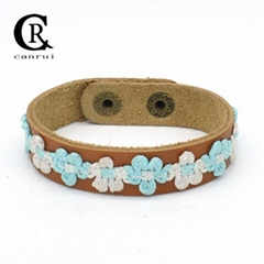 CR1007 Floral Accessory Fashion Leather Genuine Bracelet Female Jewelry