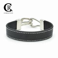 CR1010 Black Simple Leather Bracelet Statement Linked Bracelet