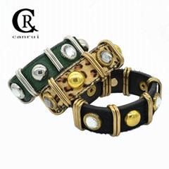 CR1017 Leopard PU Leather Bracelet Statement Female Bracelet