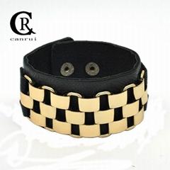 CR1032 Gold Chain Accessory Black Fashion Leather Punk Bracelet