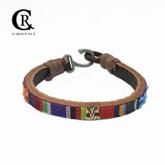 CR1036 Genuine Leather Bracelet Bohemian Clothing Pattern Bracelet