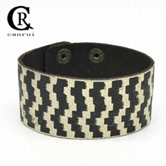 CR1040 Whit&Black Pattern Printed Inspiration Fashion Leather Bracelet