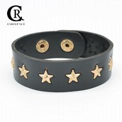 CR1041 Gold Star Accessory Black Leather Punk Night Club Fashion Bracelet