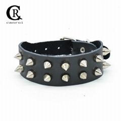 CR1048 Silver Tone Sharp Spike Accessory Fashion Black Leather Bracelet