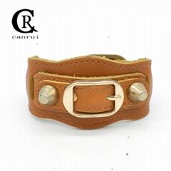 CR1049 Brown Leather 2 Spike Brand Designer Style Genuine Leather Bracelet