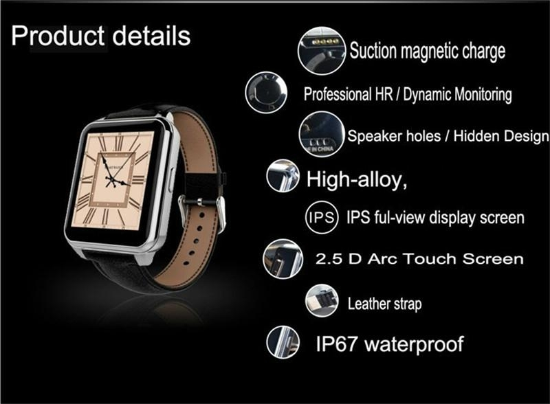F2 IP67 waterproof heart rate monitorring android watch Leather Wristband watch 7