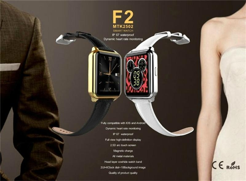 F2 IP67 waterproof heart rate monitorring android watch Leather Wristband watch 4