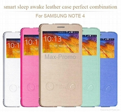 Gold Luxury Smart Answer Flip Leather Case For Samsung Galaxy Note 4