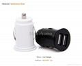 Universal Bullet Dual USB 2-Port Mini Car Cigarette Lighter Socket Charger 1