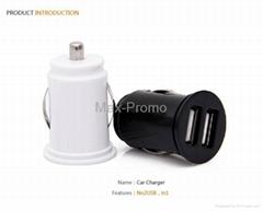 Universal Bullet Dual USB 2-Port Mini Car Cigarette Lighter Socket Charger