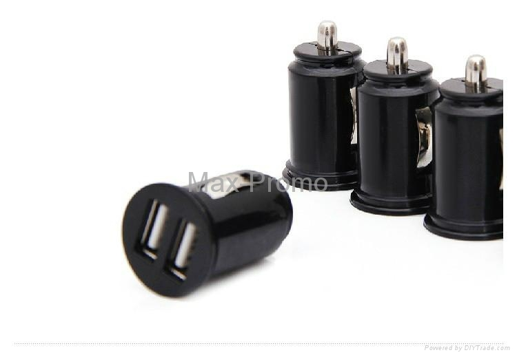 Universal Bullet Dual USB 2-Port Mini Car Cigarette Lighter Socket Charger 2