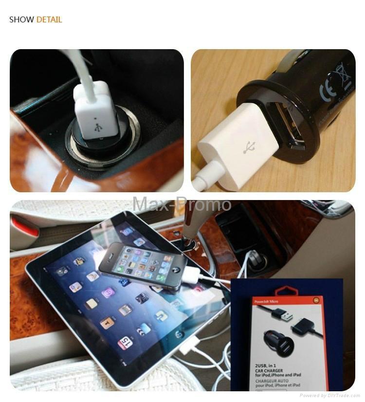 Universal Bullet Dual USB 2-Port Mini Car Cigarette Lighter Socket Charger 3