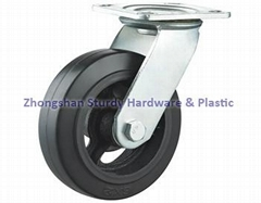 Rubber on Cast Iron Core Casters Waste Bin Casters Mold On Rubber Casters