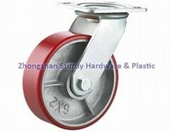 """Swivel Heavy Duty Casters 6"""" Polyolefin ,polyurethane on steel, rubber on steel"""