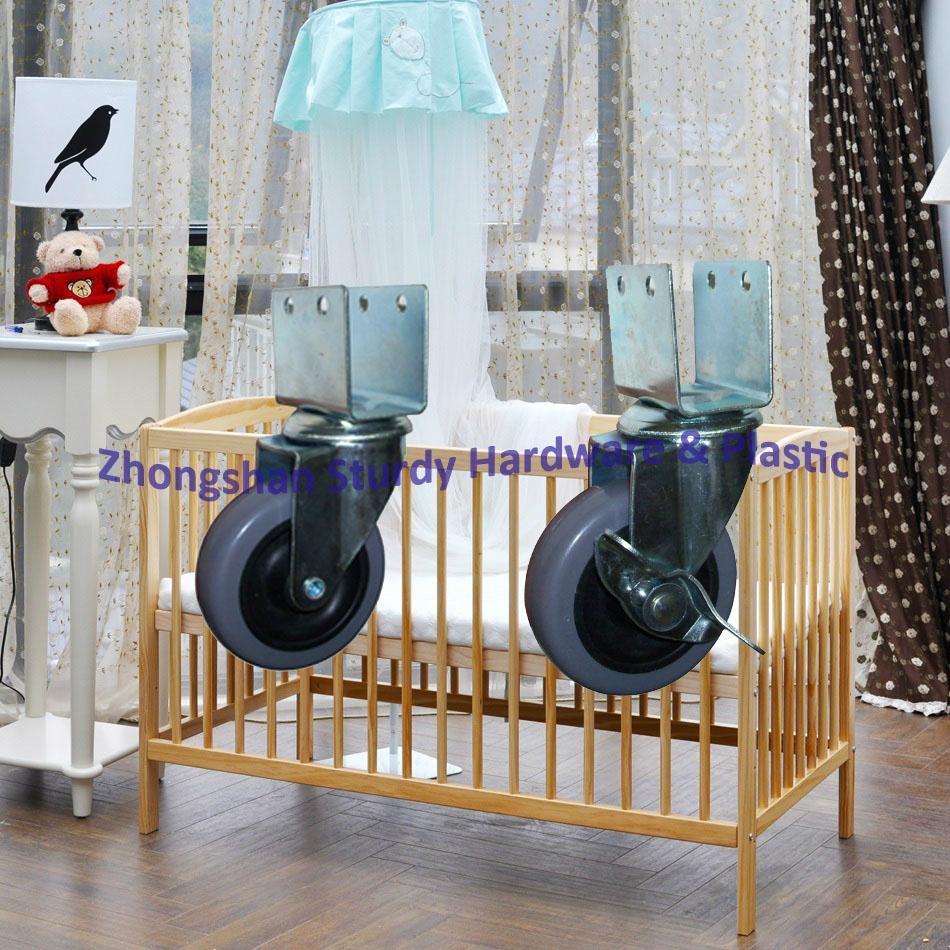2寸 U型 黑色 PP 夾板 嬰儿 車 床 萬向輪 腳輪 輪 輪子 1