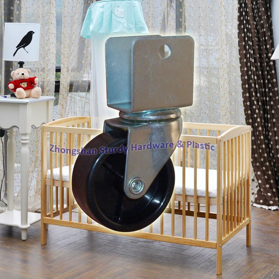 2寸 U型 黑色 PP 夾板 嬰儿 車 床 萬向輪 腳輪 輪 輪子 5
