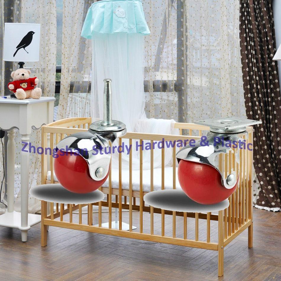 2寸 U型 黑色 PP 夾板 嬰儿 車 床 萬向輪 腳輪 輪 輪子 2