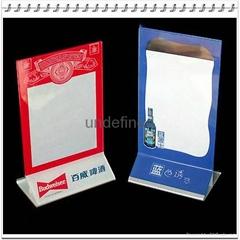 Red Desktop Acrylic Menu Display Holder PMMA Menu Holder